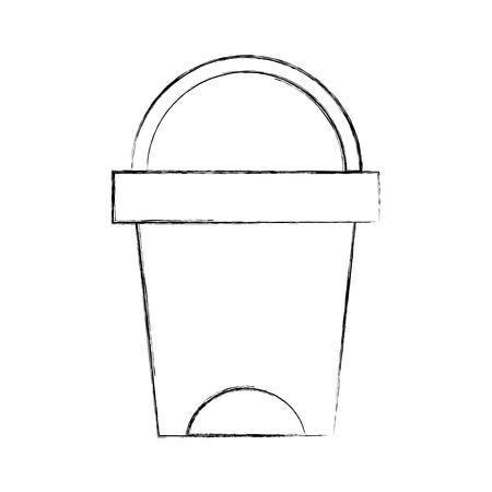 쓰레기 수 화장실 도구 플라스틱 청소 벡터 일러스트 레이션