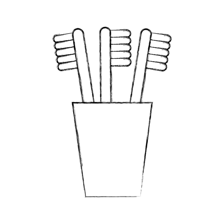 tooth brushes in glass clean bath dent design vector illustration Illustration