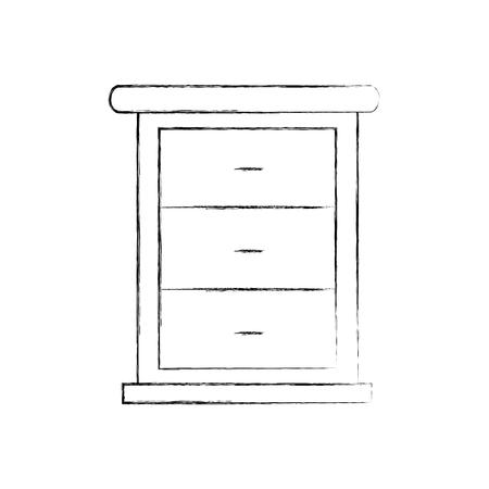 家具バスルーム引き出しキャビネット木製ベクトル図  イラスト・ベクター素材