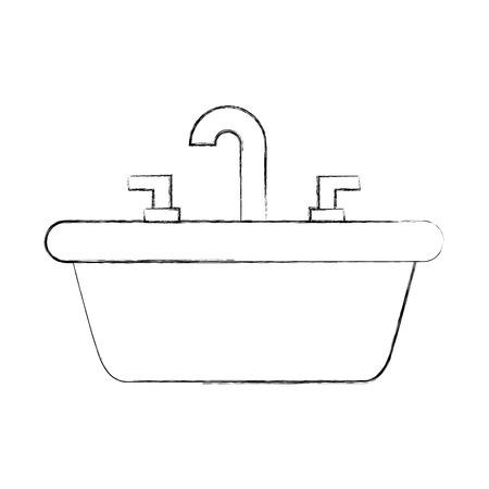 トイレのバスルームのセラミックベクターイラストのためのホームシンク  イラスト・ベクター素材