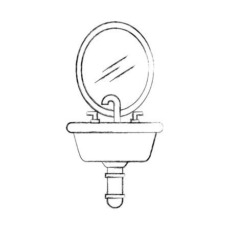 가정 화장실 욕실 세라믹 벡터 일러스트 싱크대 일러스트