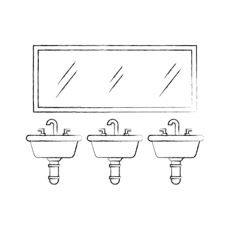 three sink mirror for toilet bathroom equipment vector illustration