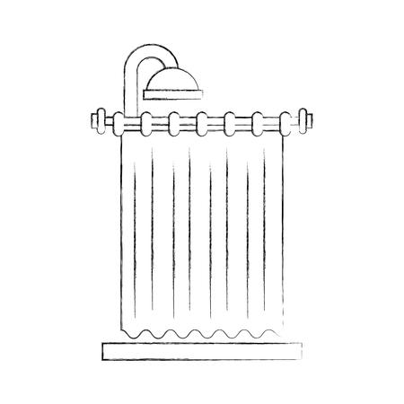 Lment intérieur propre Rideau de douche pour illustration vectorielle de salle de bain Banque d'images - 88190905