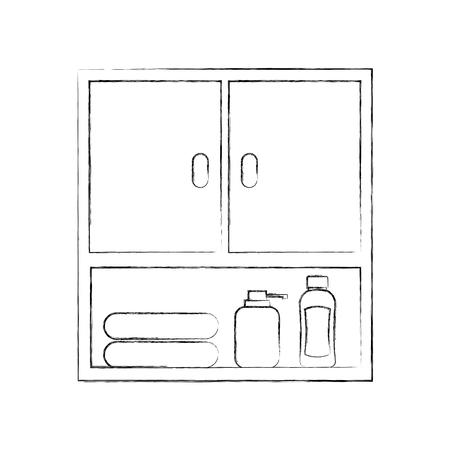 モジュール式の浴室の家具のタオルその他アクセサリーのベクトル図