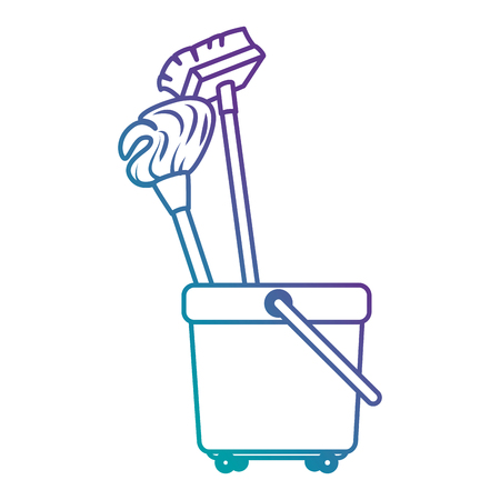 toilet trolley with broom and mop vector illustration design Çizim