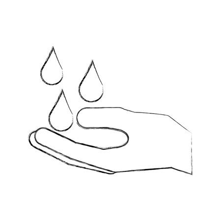 水ドロップ クリーン衛生シンボル ベクトル イラスト手します。