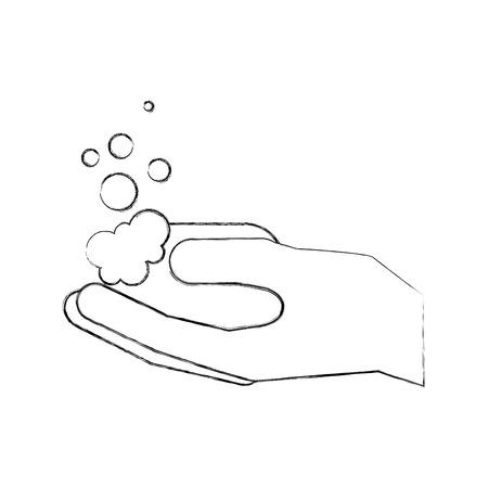 비누 거품 hyiene 벡터 일러스트를 들고 화장실 손