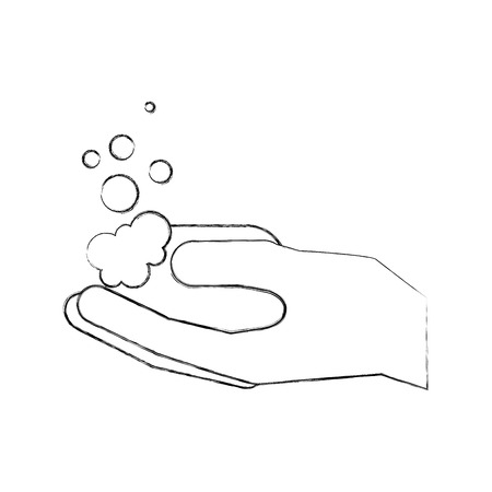 bathroom hand holding soap bubbles higiene vector illustration