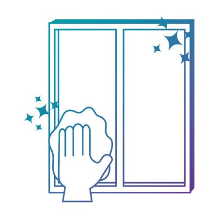 手の拭き取り窓布ベクトルイラストデザイン