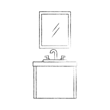 욕실 인테리어 싱크대와 화장대 캐비닛 가구 벡터 일러스트 레이션