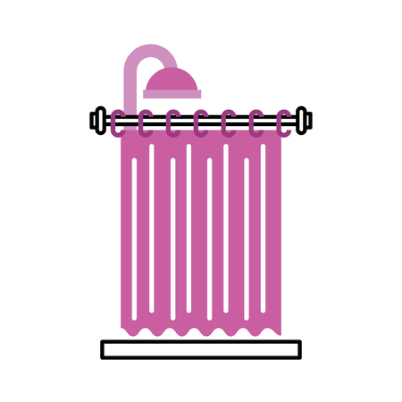shower curtain clean interior element for bathroom vector illustration Иллюстрация