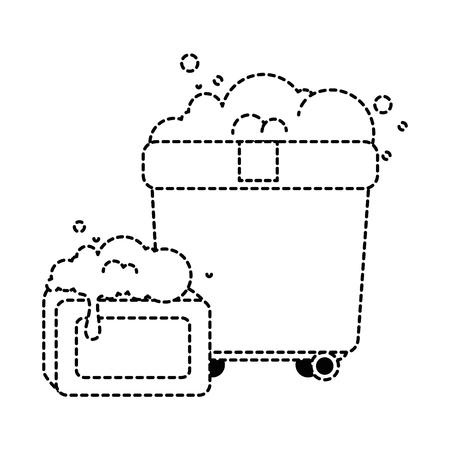 Olla de plástico con espuma y plástico de la ilustración del vector de diseño de la barra Foto de archivo - 88194941