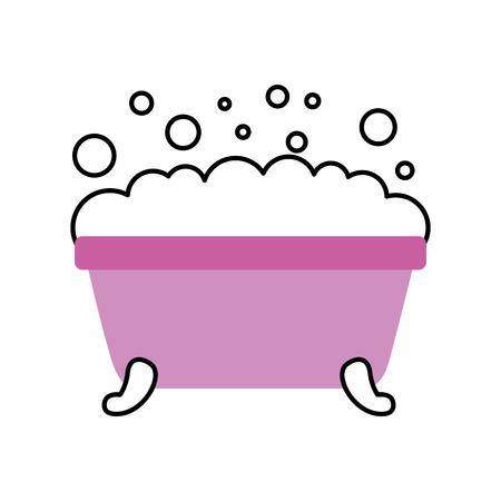 badkuip schuim schone hygiëne interieur keramische pictogram vectorillustratie