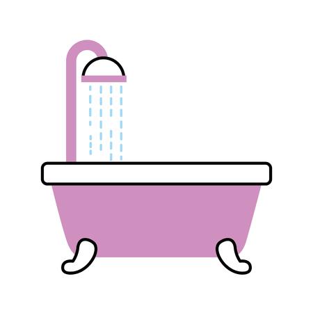 bathroom bathtub shower water relaxation vector illustration Illustration