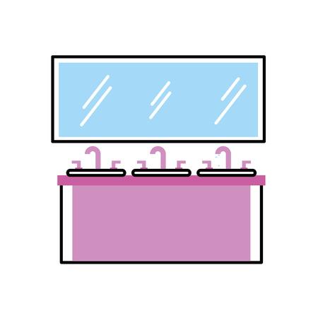 シンク ミラー洗面化粧台家具引き出しベクトル イラストのバスルームのインテリア