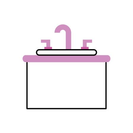 バスルーム内部にシンクバニティキャビネット家具  イラスト・ベクター素材