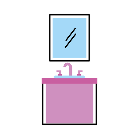 bathroom interior with sink mirror vanity furniture drawers vector illustration Illustration