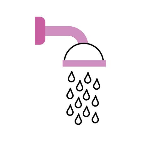 Soffione doccia in bagno con gocce d & # 39 ; acqua che scorre illustrazione vettoriale Archivio Fotografico - 88196028