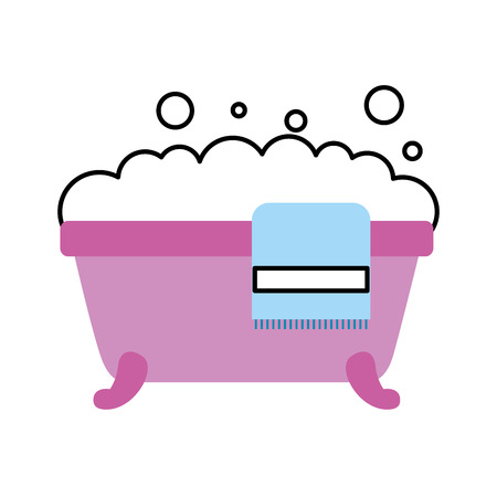 bathtub towel foam soap clean hygiene interior ceramic icon vector illustration