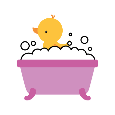 bathtub and duck clean hygiene interior ceramic icon vector illustration Ilustração