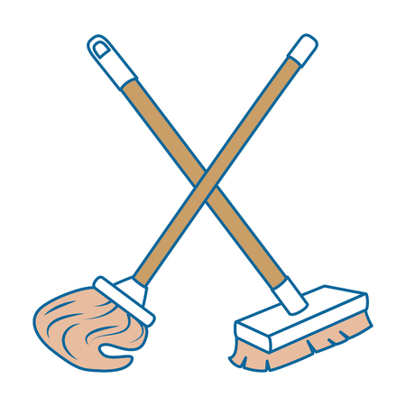 mop and brush icon vector illustration design
