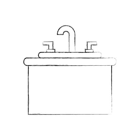 Badezimmer Interieur mit Waschbecken Waschtisch Möbel Vektor-Illustration Standard-Bild - 88197215