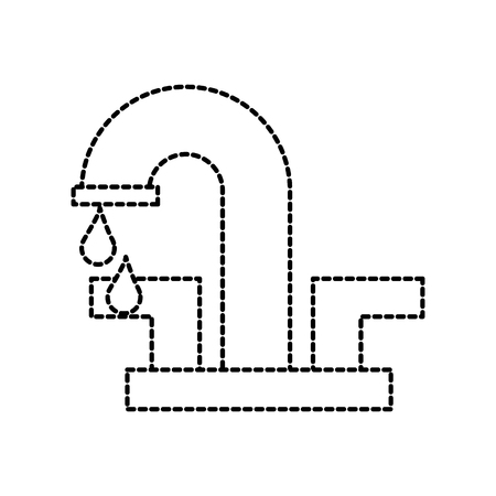 water faucet with drop bathroom icon vector illustration