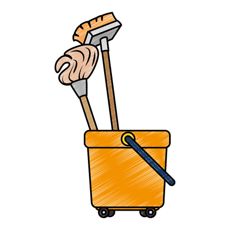 toilet trolley with broom and mop vector illustration design  イラスト・ベクター素材