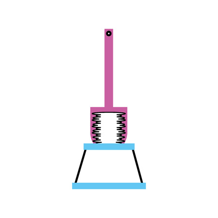 toilet brush accessory clear handle icon vector illustration