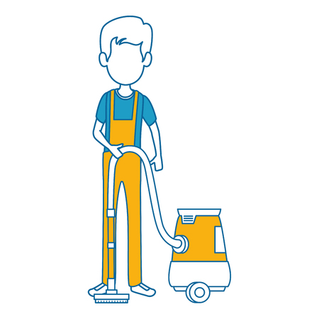 man with vacuum avatar vector illustration design