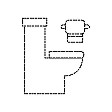 toilet bowl with paper hygienic equipment bath cartoon icon vector illustration