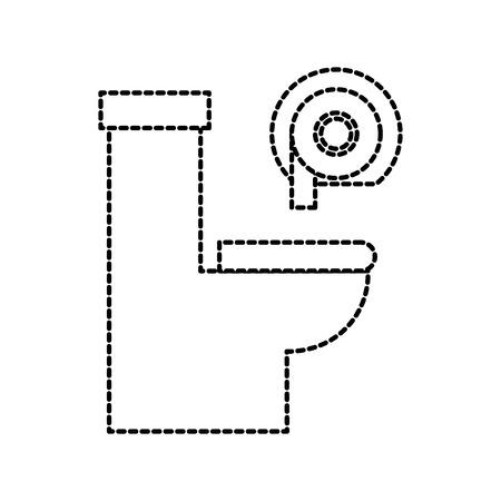 toilet bowl and dispenser paper equipment bath icon vector illustration Illustration