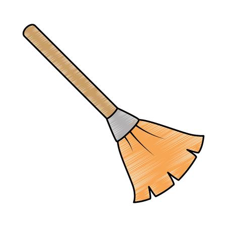 broom cleaner isolated icon vector illustration design Çizim