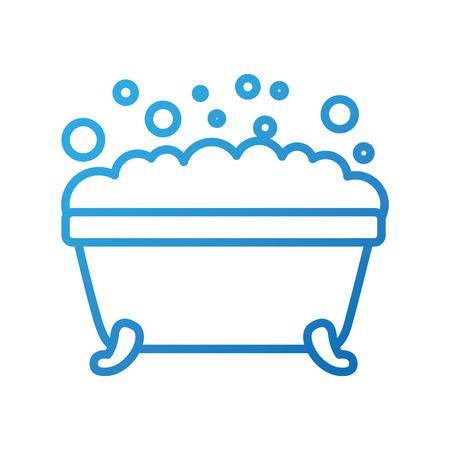 욕조 거품 깨끗한 위생 인테리어 세라믹 아이콘 벡터 일러스트 레이션
