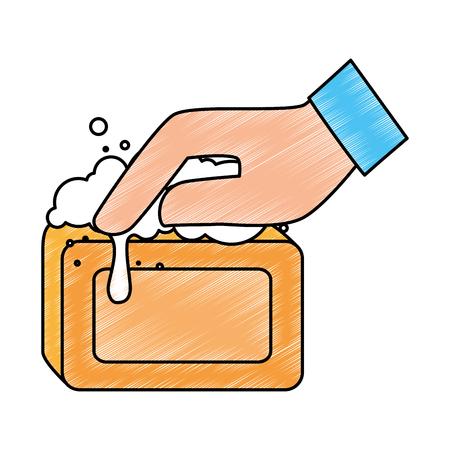Mano con diseño de ilustración de vector de jabón de barra Foto de archivo - 88197979