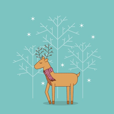 cute reindeer standing with scarf christmas decoration vector illustration