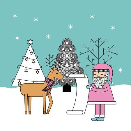 christmas santa check list gifts reindeer and tree celebration vector illustration