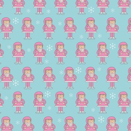 cute pink santa claus christmas seamless pattern vector illustration