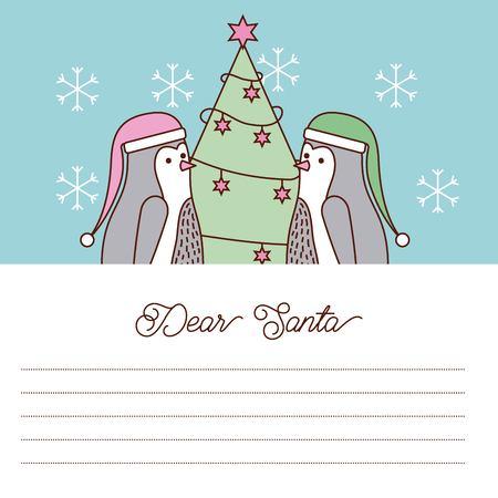 Dear Santa letter penguin tree christmas vector illustration
