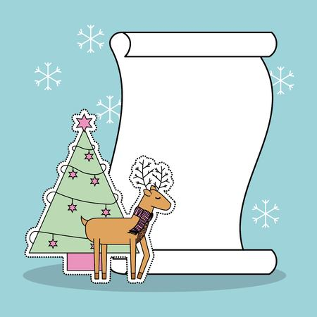 christmas reindeer tree and list gifts snow background vector illustration