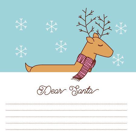 사슴 스카프 축하 공간 텍스트 벡터 일러스트와 함께 친애하는 산타 편지 일러스트