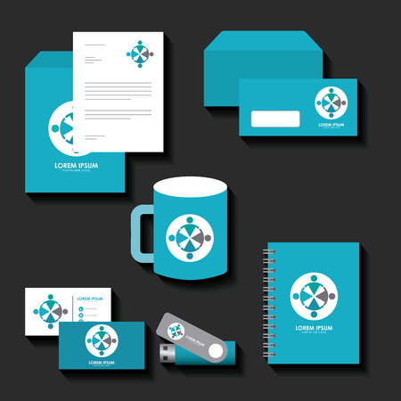 corporate identity template set business stationery mock-up with emblem branding design vector illustration Illustration