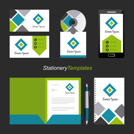corporate identity template set business stationery mock-up with emblem branding design vector illustration Çizim