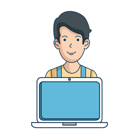 man with laptop avatar vector illustration design