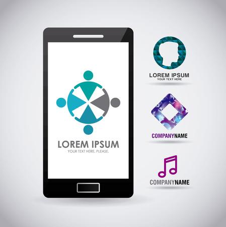 mobile phone template for brochures business on screen vector illustration Illusztráció