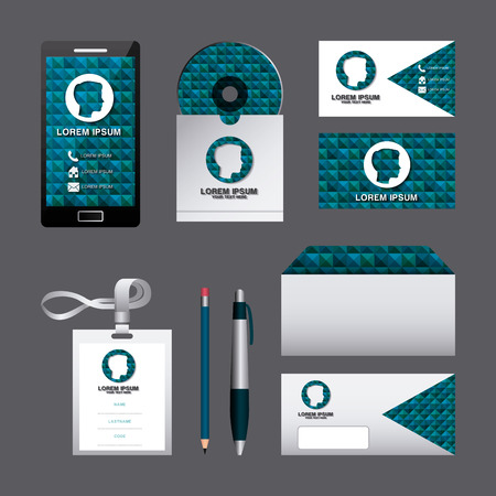corporate identity template set business stationery mock-up with emblem branding design vector illustration Ilustração