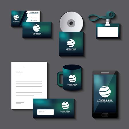 コーポレート・アイデンティティテンプレートセットビジネス文具モックアップエンブレムブランディングデザインベクターイラスト