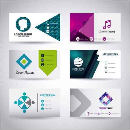 set of themed business card presentation templates vector illustration Ilustração