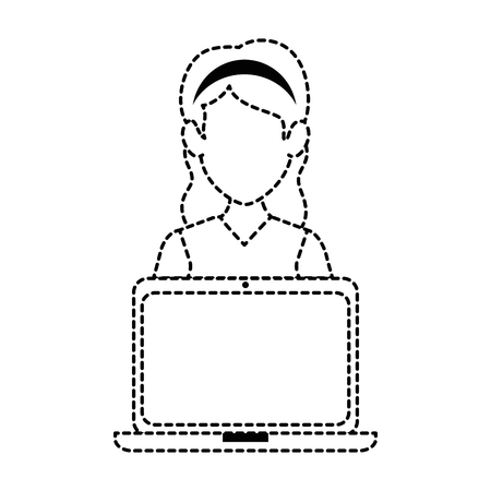 woman with laptop avatar vector illustration design Ilustração