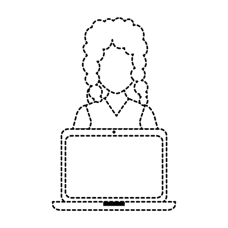 woman with laptop avatar vector illustration design Ilustrace